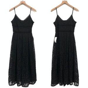 New NSR Black Sleeveless Midi Lace Dress - Size S
